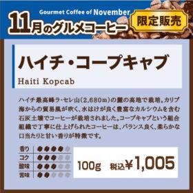 11月 スペシャルティコーヒー ハイチ・コープキャブ