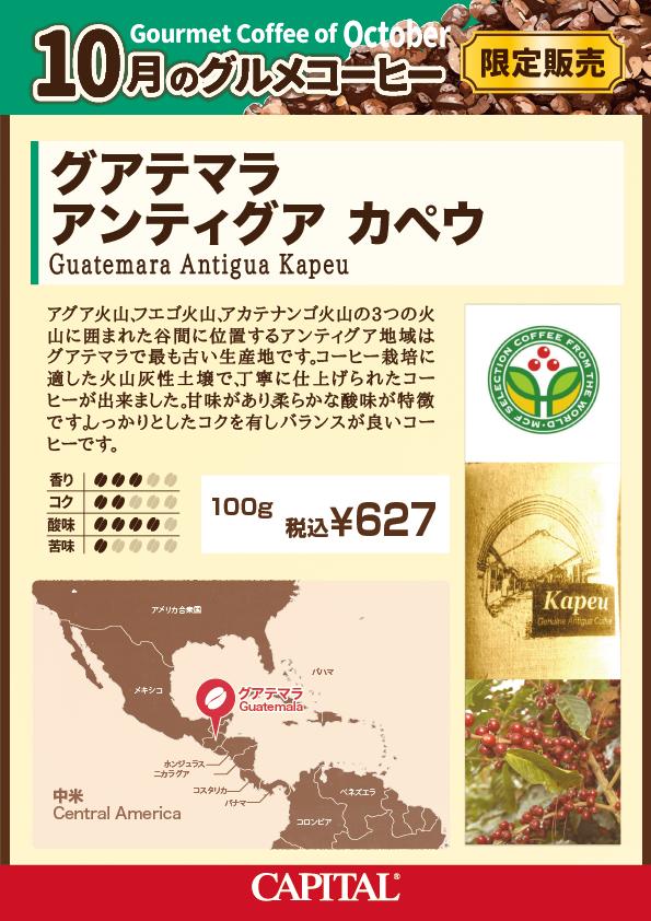 キャピタル10月のグルメコーヒー グアテマラ アンティグア・カペウ