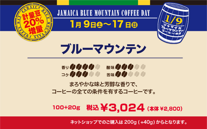 ブルーマウンテンの日フェア 20%増量 ブルーマウンテン 【キャピタルコーヒー/CAPITAL】