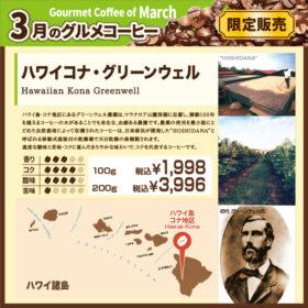 3月のグルメコーヒー ハワイコナ グリーンウェル