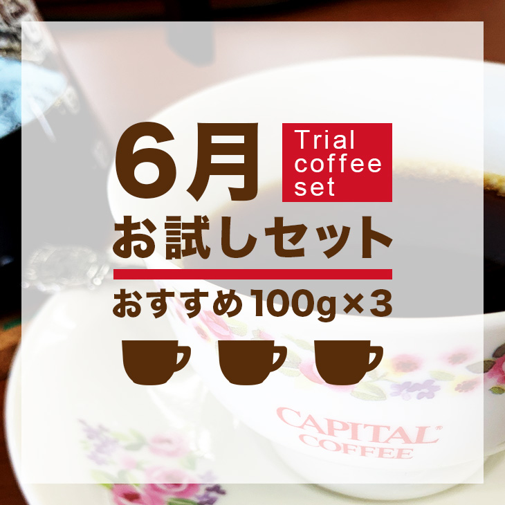6月Trial coffee set おすすめコーヒー100g×3種
